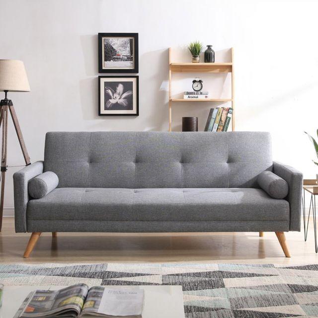 CONCEPT USINE Wooden : Canapé scandinave convertible 3 places gris