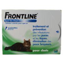 Frontline - Pipettes Antiparasitaires Traitement Prévention pour Chat - 4x0,5ml