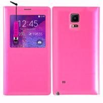 Vcomp - Coque Etui Housse Pochette Plastique View Case pour Samsung Galaxy Note 4 Sm-n910F/ Note 4 Duos Dual Sim, N9100/ Note 4 CDMA, / N910C N910W8 N910V N910A N910T N910M + mini stylet - Rose