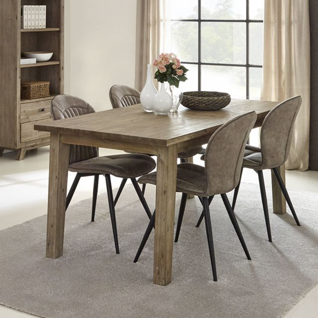 Nouvomeuble Table à manger en bois contemporaine Aubin