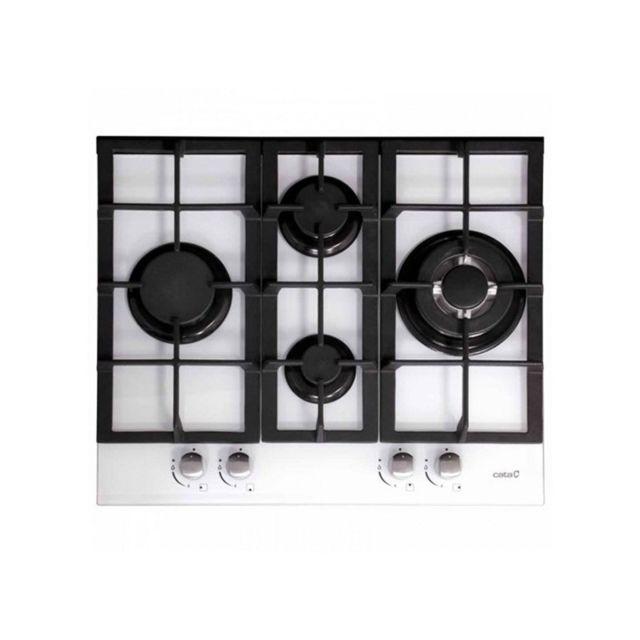 Cata Plaque au gaz 201168 9200W 60 cm Noir Blanc Verre