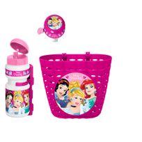 Stamp - Set accessoires vélo Princesses Disney : corbeille, sonnette et gourde