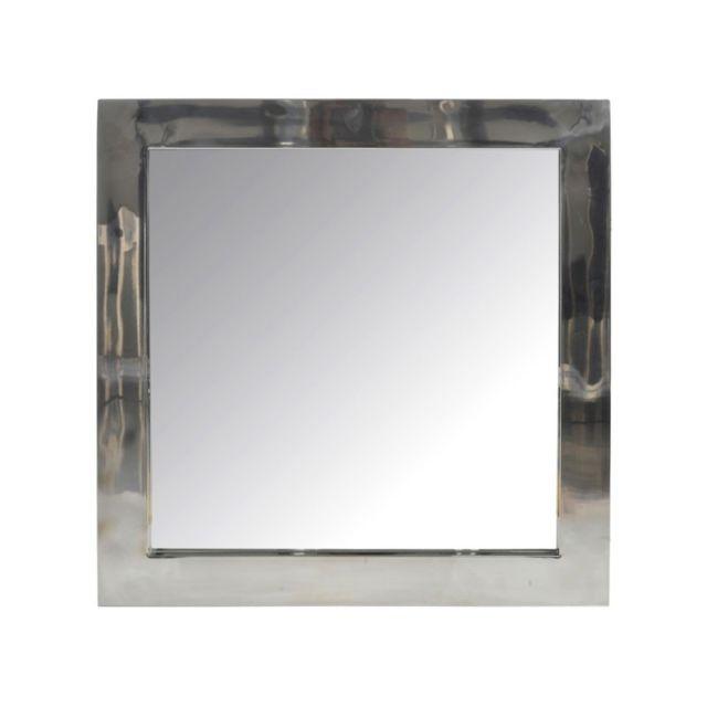 Tousmesmeubles Miroir carré Acier Argenté - Hash