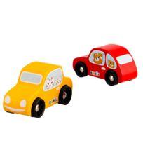 Okoia - Set de 2 voitures en bois : Jaune et rouge
