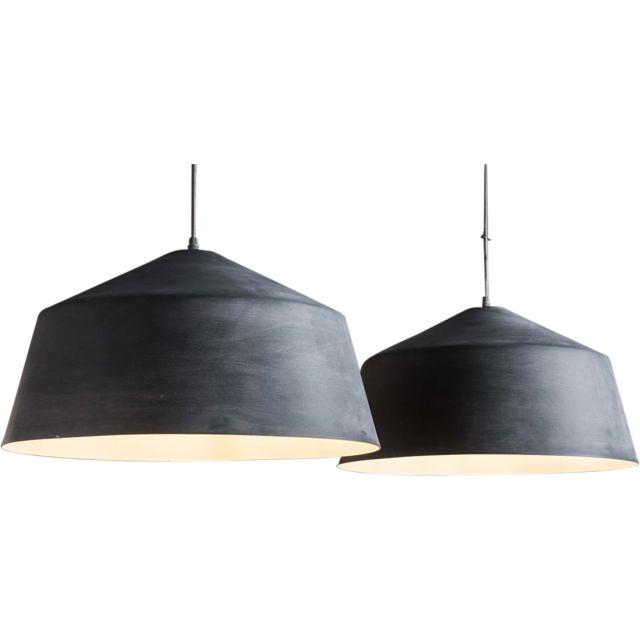 Lampe Design C Gris Conique Industriel 2xø55cm Suspension Netanel 0m8wvNnO