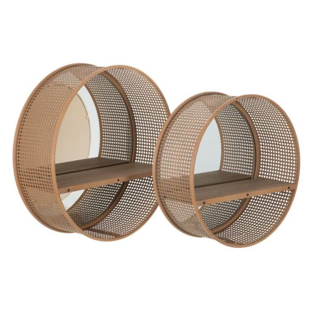 Tousmesmeubles Duo de Miroirs ronds Rotin/Cannage - Piero