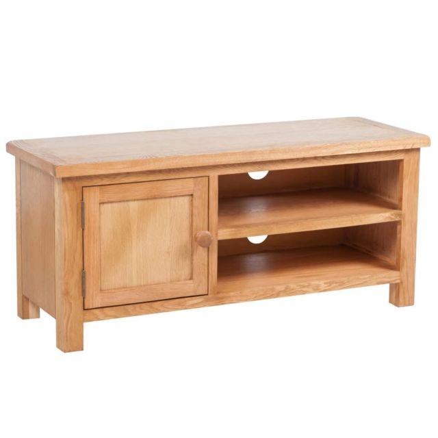 Helloshop26 Meuble télé buffet tv télévision design pratique 103 cm bois de chêne solide 2502263