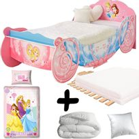 Bebe Gavroche - Pack premium grand Lit Carrosse Princesses Disney = Lit+Matelas & Parure+Couette+Oreiller