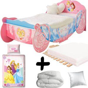 bebe gavroche pack premium grand lit carrosse princesses disney lit matelas parure couette. Black Bedroom Furniture Sets. Home Design Ideas