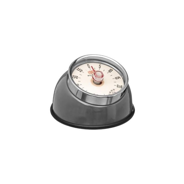 Minuteur retro magnétique - 8 x 5,5 cm - Inox - Gris
