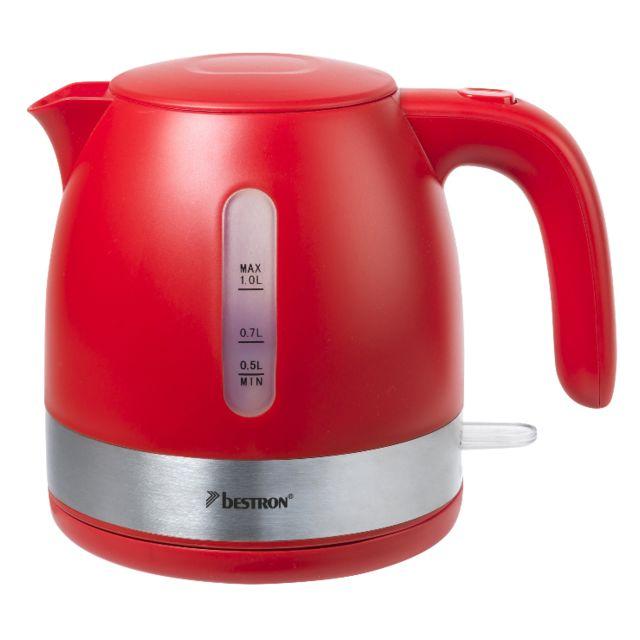 BESTRON bouilloire sans fil 1l 2150w rouge/inox - awk1000r
