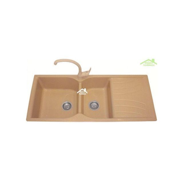 Karag évier à Encastrer 2 Bac 1 égouttoir En Résine Avec Bonde Et