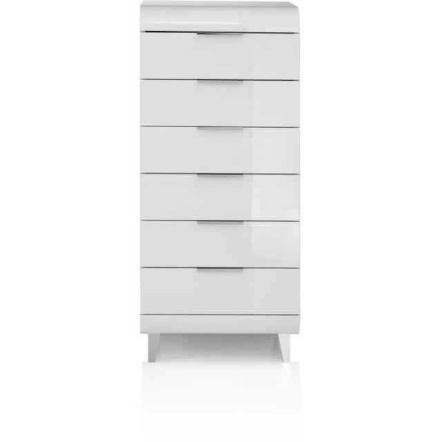 COMMODE DE CHAMBRE VEGA Chifonnier 6 tiroirs - Style contemporain - Blanc laqué - L 50 x P 45 x H 120 cm
