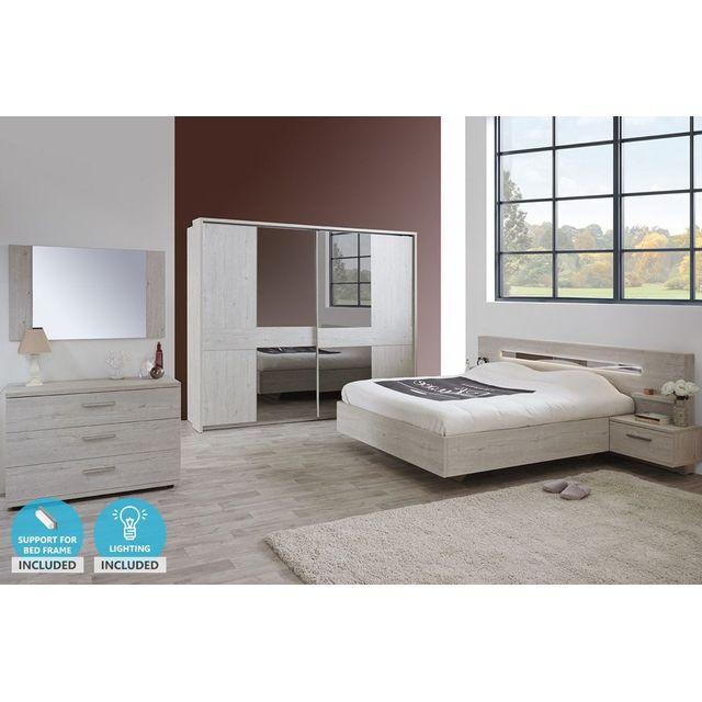 Ensemble chambre à coucher contemporaine coloris pesaro avec armoire 220  cm, éclairage et jeu de traverses JELTA