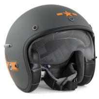 Harisson - casque jet moto scooter fibre gris-orange mat Star Deco - Ca123