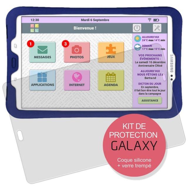 Facilotab Kit de Protection pour tablette L Galaxy - Coque silicone + Vitre en verre trempée Conçu spécialement pour les tablettes Facilotab L Galaxy (WiFi et WiFi/4G), cette protection totale saura parfaitement les protéger des chocs et des impacts.La co