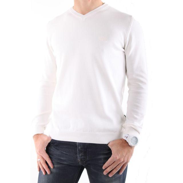 e3626f7a7e69 Hugo Boss - Pull Col V Blanc - pas cher Achat   Vente Pull homme -  RueDuCommerce