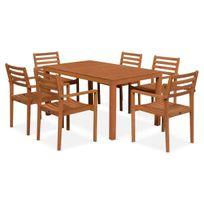 ALICE'S GARDEN - Salon de jardin en bois Cadaques, table 150cm rectangulaire, 6 fauteuils eucalyptus FSC