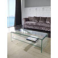 Ma Maison Mes Tendances - Table basse 1 plateau en verre Troi - L 110 x l 55 x H 35