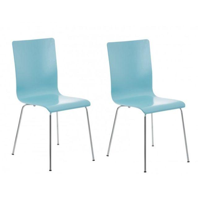 Lot de 2 chaises de cuisine en bois bleu et métal Cds10064