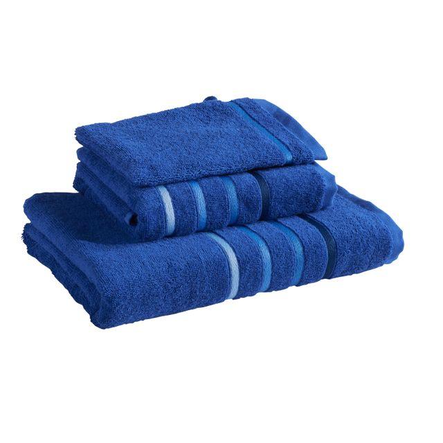 tex home set 3 ponges 1 serviette de toilette 1 drap de douche 1 gant bleu pas cher. Black Bedroom Furniture Sets. Home Design Ideas