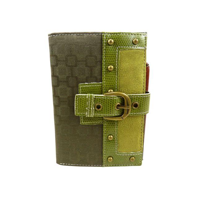 Chaussmaro - Portefeuille femme 3 volets 7 cartes bancaires vintage bi  matiere 724606765e5