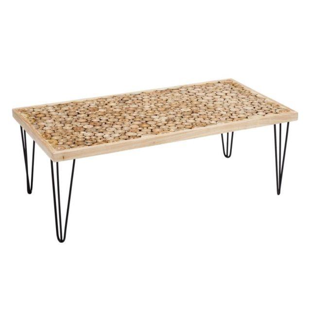 Tousmesmeubles Table basse rectangulaire en Bois/Noir - Wood