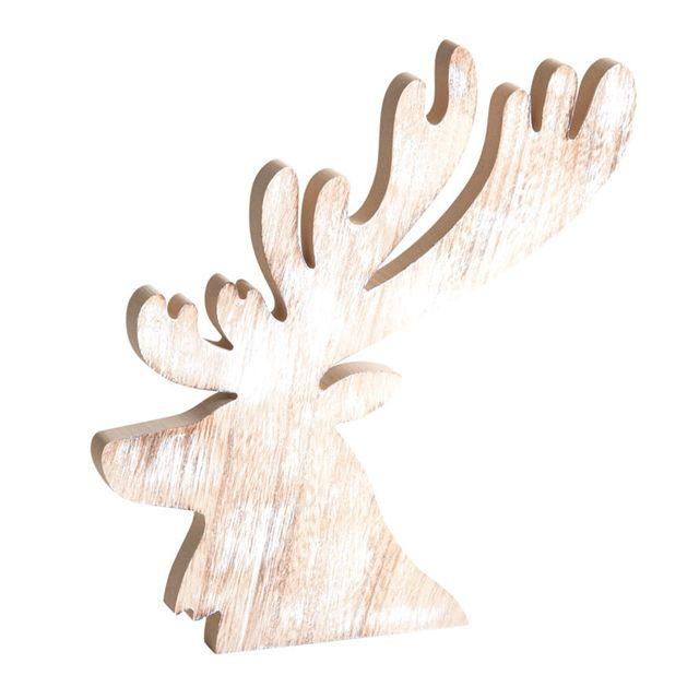 AUBRY GASPARD Tête de cerf en bois blanchi