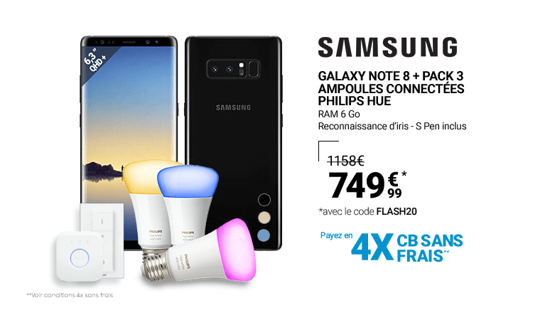 Galaxy Note 8 + Pack 3 Ampoules connectées Philips Hue