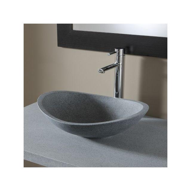 vasque a poser en pierre Planetebain - Vasque à poser ovale en pierre de qualité