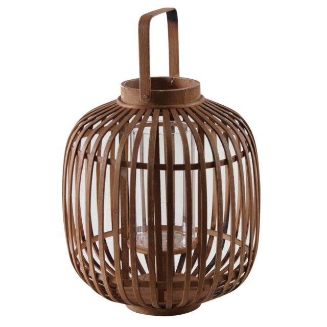 AUBRY GASPARD - Lanterne ronde en bambou naturel