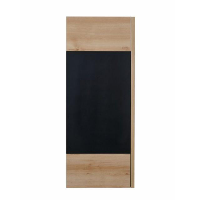 Tousmesmeubles Module mural 1 porte bois Chêne clair/Noir - Norton - L 44 x l 33 x H 110
