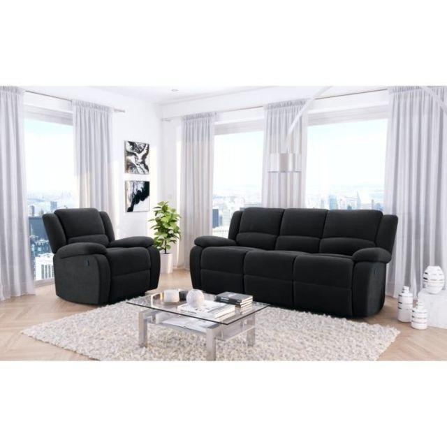 No Name Canape - Sofa - Divan Relax Ensemble de canapé relax 3 places + fauteuil - Microfibre noir