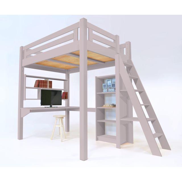 abc meubles lit mezzanine alpage bois chelle hauteur r glable violet pastel 120cm x 200cm. Black Bedroom Furniture Sets. Home Design Ideas