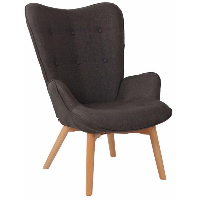 La Chaiserie Fauteuil Lounge Dana en Tissu I Chaise Fauteuil pour Salon Ou Salle A Manger I Piètement en Bois I Design Scandinave Gri