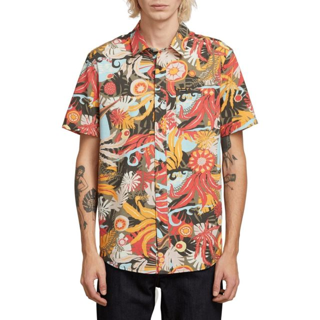 Volcom Chemise Psych Floral Army Homme