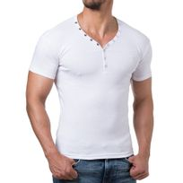Young And Rich - T shirt homme fashion T shirt 873 blanc col v
