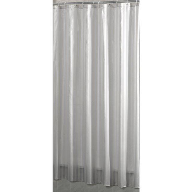carrefour - rideau de douche tissu - 180x200 cm - blanc rayé