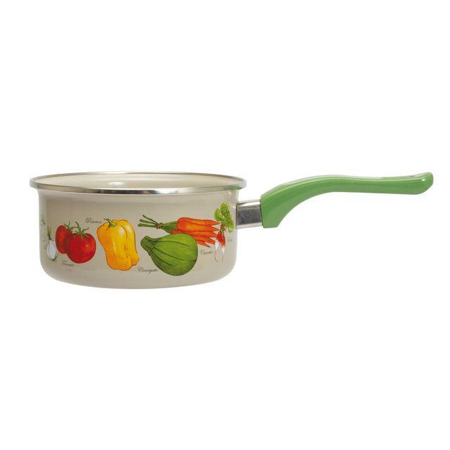 Menastyl Casserole en acier émaillé décoration légumes induction Potager - 18cm