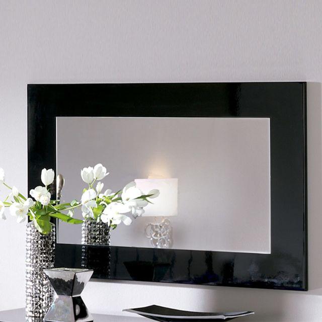 Nouvomeuble Miroir design noir laqué Barbara