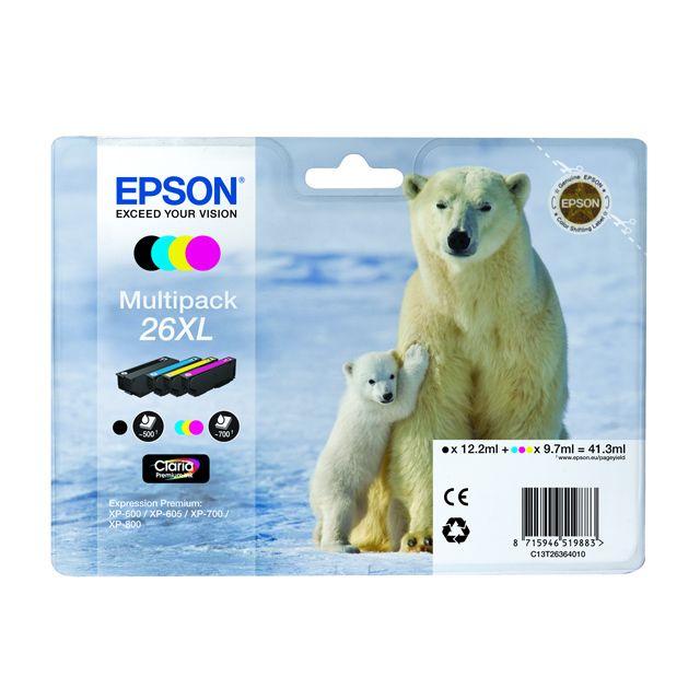 """EPSON Pack de cartouches d'encre """"Ours Polaire"""" haute capacité Noir et couleurs Multipack XL - T2636"""