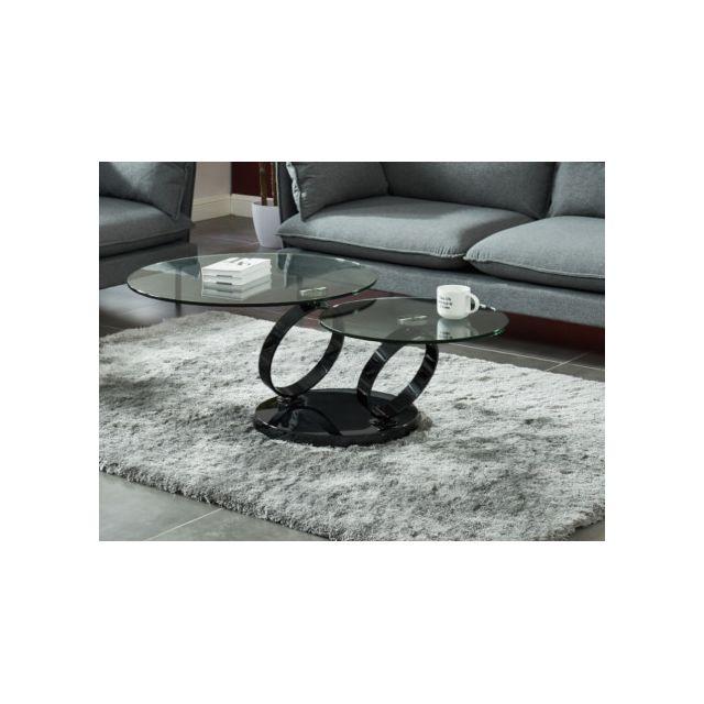 Table basse avec plateaux pivotants JOLINE - Verre trempé transparent et pied chromé noir