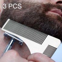 Wewoo - Tondeuse 3 Pcs L forme l'outil de formation de cheveux faciaux de shaper de barbe d'acier inoxydable, livraison aléatoire de couleur