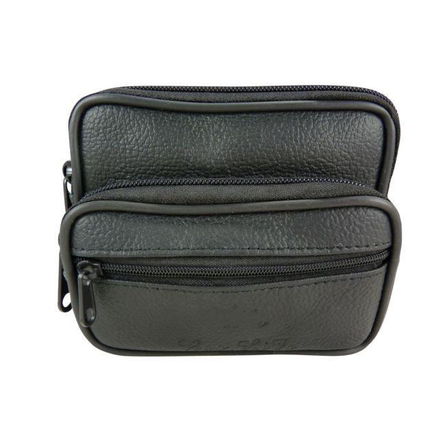 Chaussmaro - Pochette ceinture multi-poches zippees cuir Noir - pas ... 2fd220c7980