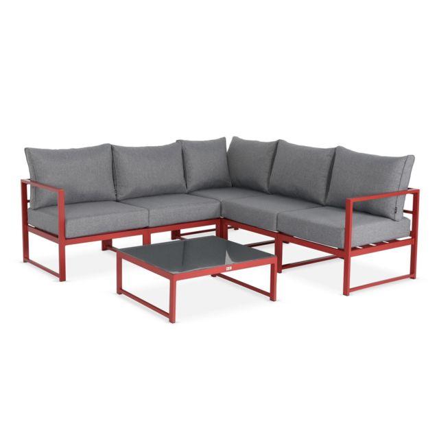 Salon de jardin 5 places - Stratum Rouge et Gris chiné- 6 éléments en  aluminium, coussins épais, design et modulable