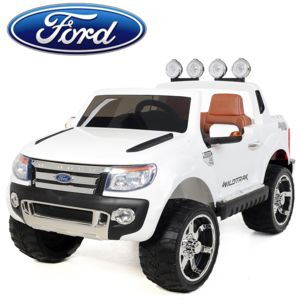 ford voiture lectrique enfant 4x4 ranger 12v 2 places si ge en cuir blanc pas cher. Black Bedroom Furniture Sets. Home Design Ideas