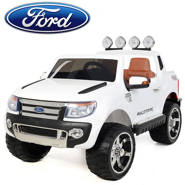 ford voiture lectrique enfant 4x4 ranger 12v 2 places si ge en cuir blanc pas cher. Black Bedroom Furniture Sets. Home Design Ideas