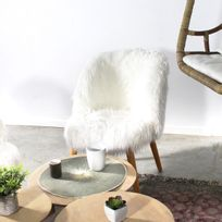 Made In Meubles - Fauteuil vintage fausse fourrure | Hg84-BL