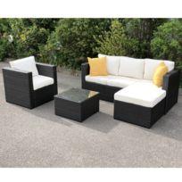 importdiffusion salon jardin rsine tresse coloris noir milano - Salon De Jardin Resine Pas Cher