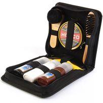 Touslescadeaux - Kit de Cirage Chaussure 8 Pièces Noir, Marron et incolore : Brosse de cirage, crème, chiffon, chausse-pied